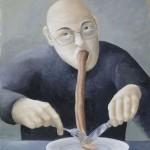 Mann mit Zunge