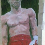 Boxer, Acryl auf Packpapier