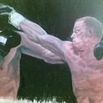 Boxkampfbild, Acryl auf Packpapier