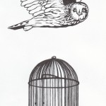 Eule&Käfig, Tusche auf Papier (VERKAUFT)