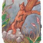 Fuchs auf Baum, Aquarell auf Papier