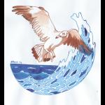 Möve Welle, Aquarell auf Papier
