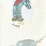 Schwertgriff&Welle, Aquarell & Tusche auf Papier