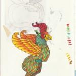 Fantasietier, Aquarell & Tusche auf Papier