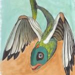 fliegender Fisch, Tinte und Aquarell auf Papier