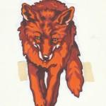 roter Fuchs, Aquarell auf Papier (VERKAUFT)