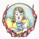 Kaffeefrau, Tusche und Farbstift auf Papier