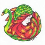 Schwanenfrau, Tusche, Farb- und Filzstift auf Papier
