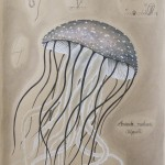 Amanita Medusae: Pilzqualle, 50cm x 65cm, Mischtechnik auf Halbkarton (VERKAUFT)