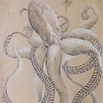 Polypodium Octopussum: Farnkrake, 50cm x 65cm, Mischtechnik auf Halbkarton (VERKAUFT)