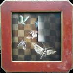 """""""Schachmott"""", Acryl auf Schachbrett (furniertes Holz), H50B50cm, ohne Rahmen H35B35cm (VERKAUFT)"""