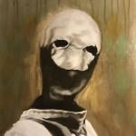 """Maske"", Acryl auf Holz, B36,5H50,5cm, 2019 (sold/verkauft)"